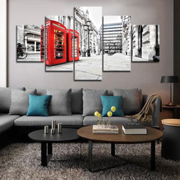 $enCountryForm.capitalKeyWord Australia - 5 Piece Large Framed London Red Telephone Box Modern Building Wall Art Pictures for Bed Room Wall Decor Posters and Prints Canvas Painting