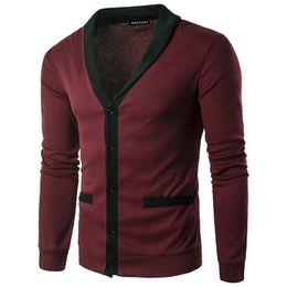 a818be424b9ec Men S White Wool Cardigan UK - Men Sweaters Knitted Cardigan Long Sleeve  Casual Knitwear Patchwork