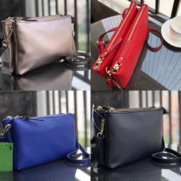 Double layer belt online shopping - KS Belt Crossbody Bag Double Zipper Pouch Double Layer Shoulder Bag PU Leather Tote Handbags Satchel Messenger bags Waist Fanny Packs C41702