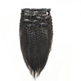 "$enCountryForm.capitalKeyWord UK - Natural black brazilian hair clip in Human extensions 7pcs kinky straight hair italian coarse yaki clip in human hair extensions 18"" 20"" 22"""