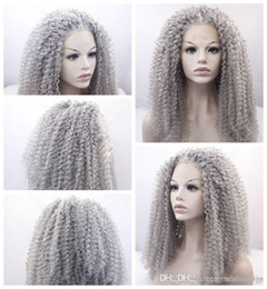 long gray hair styles 2019 - New Sexy Style Gray curly long wigs for black women heat resistant synthetic lace front wigs with baby hair fast shippin