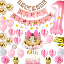 $enCountryForm.capitalKeyWord Australia - 31pcs 1st Birthday Decorations First Birthday Girl Pink Party Decoration 1 Year Birthday Decorations Baby Shower Decor One Year Old