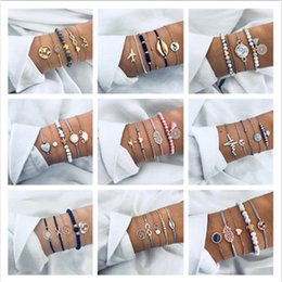 $enCountryForm.capitalKeyWord Australia - Ahmed 15 Style Bohemian Trendy Bracelet sets for Women Fashion Plain Shell Map Heart Animal Palm Beads Tassel Bracelets Jewelry