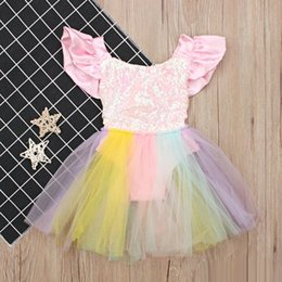 Cute suspenders for girls online shopping - Baby Girls Rainbow lace Romper Dress Cute sequins Backless suspender skirt for T toddlers summer clothing performance party
