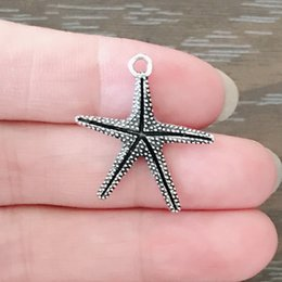 Antique Zippers Australia - DIY Jewelry Clip on Charm Dangle Charms Antique Silver Tone Large Starfish Charm for Bracelets Necklaces Earrings Zipper Pulls Bookmarks