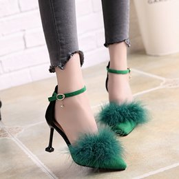 130a4a290f78 Heel Types NZ - New Type One-word Button Women s Fur Shoes