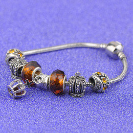 Steel Lanterns Australia - Popular Silver Bracelets Fit Pandora Women Gold Faceted Murano Glass Beads Openwork Crown Charms Bead Bangle Lantern Pendant Jewelry P215