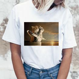Tee Shirt Cat Australia - New Funny Cat Casual Short Sleeve T Shirt for Women Harajuku New Summer T-shirt Kawaii Cats White Tshirt Fashion Top Tees Female