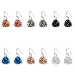 $enCountryForm.capitalKeyWord Australia - Fashion Triangle Druzy Drusy Earrings Silver Plated Crystal Druse Resin Stone Dangle Earrings Women Brand Jewelry Accessories