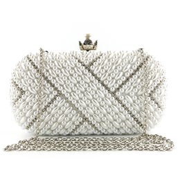 a8c870c2e26 2019 Female Dinner Bag Metal Tassel Crafts Gold White Pearls Women Party Evening  Bag Chain Beaded Prom Clutch Bag Lady Bridal Wedding Purse