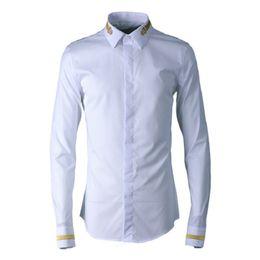 Chinese Collar Shirts Mens UK - 2019 Chinese Style New Mens Shirts Long-sleeved Shirt Fashion Cotton Black and White Men Dress Shirts