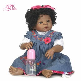 China NPK reborn doll with soft real gentle touch free shipping black girl full vinyl doll best toys for children Birthday suppliers