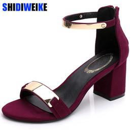 $enCountryForm.capitalKeyWord Australia - Sandals Women 2019 Summer Square Chunky Heels Red Black Buckle Ankle Strap High Block Heel Open Toe Party Sandals Woman Pump Y19070103