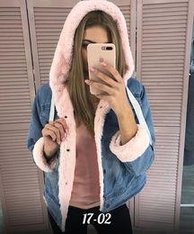 Wholesale denim models for sale - Group buy Cross border supply women s autumn and winter women s fashion denim jeans Russia plus velvet hooded coat jacket explosion models