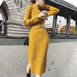 Knitting Dresses For Girls Australia - Women Sweater Dress Female Winter Long Knitted Split Lurex Bodycon Belt For Girl Ladies Winter Dresses 2018 Pullover Drop Ship J190505