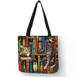$enCountryForm.capitalKeyWord UK - Popular Hand Bags For Women Naughty Bookshelf Cat Printing Totes Eco Linen Large Capacity Casual Practical Shoulder Bag
