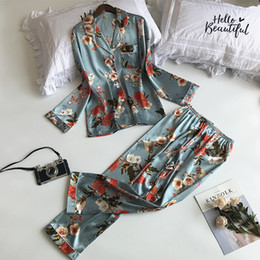 Silk Full Length pyjamas pijamas Satin Pajamas Nightwear Nighty Sexy Woman  Sleepwear Womens Lingerie Nightgown Pajama set pants 54335591e
