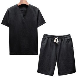 $enCountryForm.capitalKeyWord NZ - HEFLASHOR 2019 Summer Men Breathable O-Neck Casual Beach Set Brand Knee Length Sets Chinese Style 5XL T-shirt Solid Casual Suit