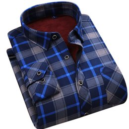 Wholesale 2018 hot winter casual shirt warm long sleeve plaid shirts thick velvet mens brand quality dress shirts male slim fit more color