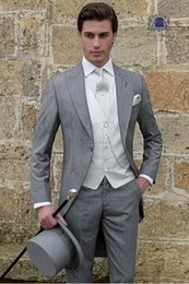 $enCountryForm.capitalKeyWord Australia - Light Grey Tailcoat Men Wedding Tuxedos Fashion Groom Tuxedos Peak Lapel One Button Men Dinner Prom clothes(Jacket+Pants+Tie+Vest) 1556