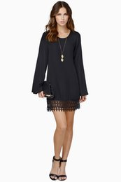 Black chiffon tunic dress online shopping - Women s Casual Loose Crewneck Flare Sleeve Summer Lace Chiffon Tunic Beach Sheath Dress