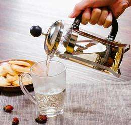 Ingrosso 350 ml di vetro francese premere caffettiera pentola in acciaio inox caffè stantuffo caffettiera isolata caffettiera dando filtro teiera GGA2631
