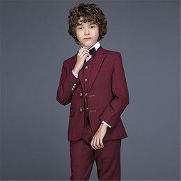 $enCountryForm.capitalKeyWord Australia - Boy Suit Notch Lapel Custom Made Burgundy Kid Suit Wedding  Prom Dinner Leisure show Children suit ( Jacket+Pants+Vest+Shirt+Tie ) M1358