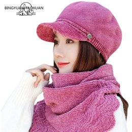 cotton chenille wholesale NZ - New Chenille Autumn Berets Caps Berets Hats Scarf Winter Casual Cotton Artist Hats Bone Caps Adult Lady Female