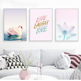 living art paintings NZ - Custom Gradient Petals Landscape Poster Vintage Art Print Canvas Painting Picture Wall Painting Living Room Home Decor