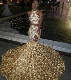 9a1dcbac5514 Two Piece Dresses Short Prom Girl Australia - Two Pieces Prom Dresses Halter  Gold Lace Appliques