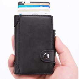$enCountryForm.capitalKeyWord Canada - 2019 Credit Card Holder Men and Women New PU Leather Card Wallets Aluminum Single Box RFID Blocking Package ID Holders Black