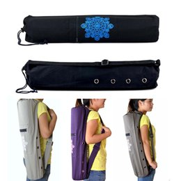 padded drawstring NZ - Straight Canvas Yoga Pad Backpacks Practical Yoga Pilates Mat Carry Strap Drawstring Bag Sport Exercise Gym Fitness Backpack