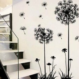 Plastic walls online shopping - Hot black dandelion sitting room bedroom wall stickers household adornment wall stickers on the