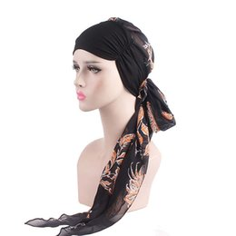 Head Band Boho Australia - New Women Chemo Cap Turban Long Hair Band Scarf Head Wraps Hat Boho Chiffon Pre-Tied Bandana Hair Accessories for Women X7-M2