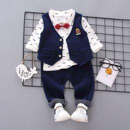 $enCountryForm.capitalKeyWord Australia - Autumn Baby Boy Clothes Long Sleeve Floral Print T-shirt+Striped Vest+Pant Trousers Fashion Kids Clothes 3pcs
