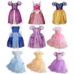 Enfants Filles Été Cosplay Robes 9+ Dessin animé Cravate à manches courtes à manches courtes imprimées dentelle dentelle robe de filles enfants costume de fête de vêtements 2-8T en Solde