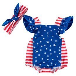 $enCountryForm.capitalKeyWord Australia - Girls Jumpsuit Clothing Sets Star Print Jumpsuit Two Piece Suit American Flag Independence National Day Striped Printed Bow Headband