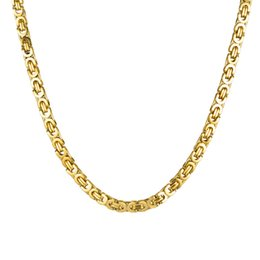 Stainless Chains Australia - Byzantine Chain Necklace 18K Gold Plated Stainless Steel Necklace Length 60cm Unisex Accessories Three Colors Optional