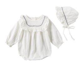 Wholesale Spandex Jumpsuits Australia - Spring Toddler Baby Girls Rompers Ruffle Collar Linen Cotton Long Sleeve Jumpsuits with Hat 2pcs Set Kids Girls Bodysuit Babies Romper 0-3T