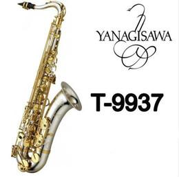 Qualità professionale YANAGISAWA T-9937 Tenore Sib sassofono superficie argentata oro chiave B Sax piatta con bocchino Ance Accessori in Offerta