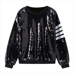 2019 New Women Hoodies O-Neck Long Sleeve Sequins Sweatshirts Loose Women  Hoodies Pullover Femme Fashion Tops Punk Style 3a9c28f068b7