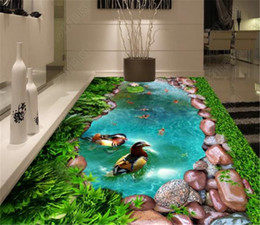 cobblestone flooring NZ - Custom Retail Green Grass Cobblestone Pool Auspicious Bird Goldfish 3D Floor Decoration Mural