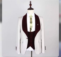 $enCountryForm.capitalKeyWord NZ - Custom Made Slim Fit Formal Wedding Suits For Men Ivory Tuxedos Groom Party Prom Suit Burgundy Shawl Lapel Costume Homme Mariage