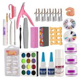 diy nail file 2019 - Nail Art Set Acrylic Liquid Glitter Powder File Brush Form Tips Tools DIY Kit discount diy nail file