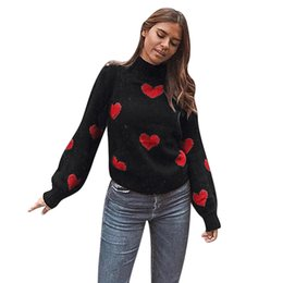 $enCountryForm.capitalKeyWord Australia - Feitong Women Heart Print O Neck Knitted Sweater 2019 Autumn Winter Fashion Female Pullover Sweaters Ladies Loose Knitwear