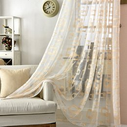 white gold curtains Australia - Gold and grey sheer window curtains for living room luxury organza geometric curtains for bedroom 2016 cortina sala
