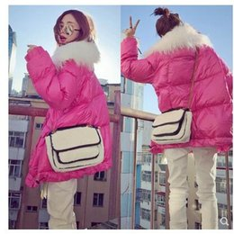 pink fur parka Australia - Winter new women's cute fashion pink color faux tibet sheep fur collar white duck down loose parkas down coat plus size casacos