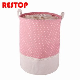 Folded Laundry Basket Canada - 35x45cm Colorful Dot Laundry Bag With Cover Cotton Washing Laundry Basket Dirty Clothing Bags Toy Storage Bag RES178