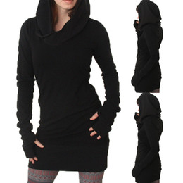 Wholesale hoody dresses for sale - Group buy Casual Lady Womens Clothes Spring Fall Hoodies Hoody Bodycon Long Sleeve Sweatshirt Fashion New Mini Dress Brief Fashion