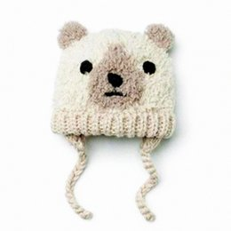 kids bear hat NZ - winter hat for baby boys and girls Knitted Hat for Kids boys 0-2T cute bear beanie cap